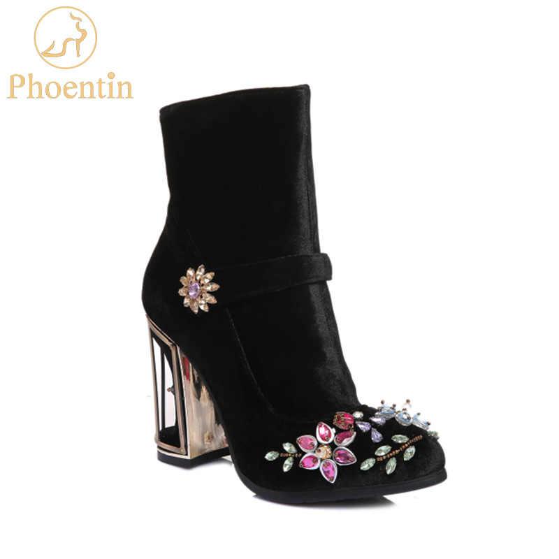 Phoentin siyah rhinestone çiçek kadın botları düğün retro bayanlar ayak bileği çizmeler kuş kafesi yüksek topuklu fermuar kadife ayakkabı FT466