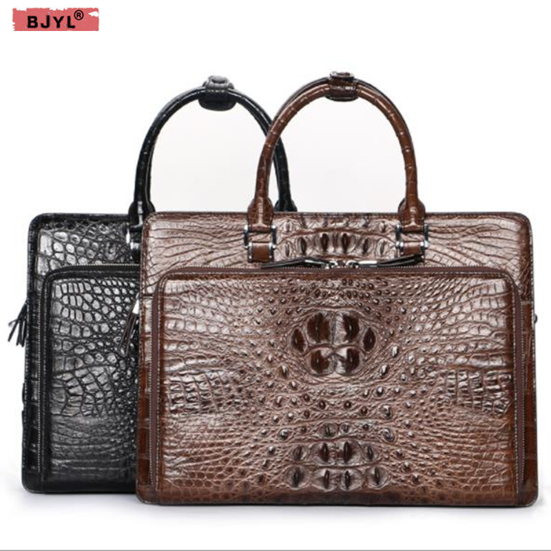 BJYL100% crocodile leather Men Handbags Luxury men's business shoulder Messenger Bag Large capacity 14