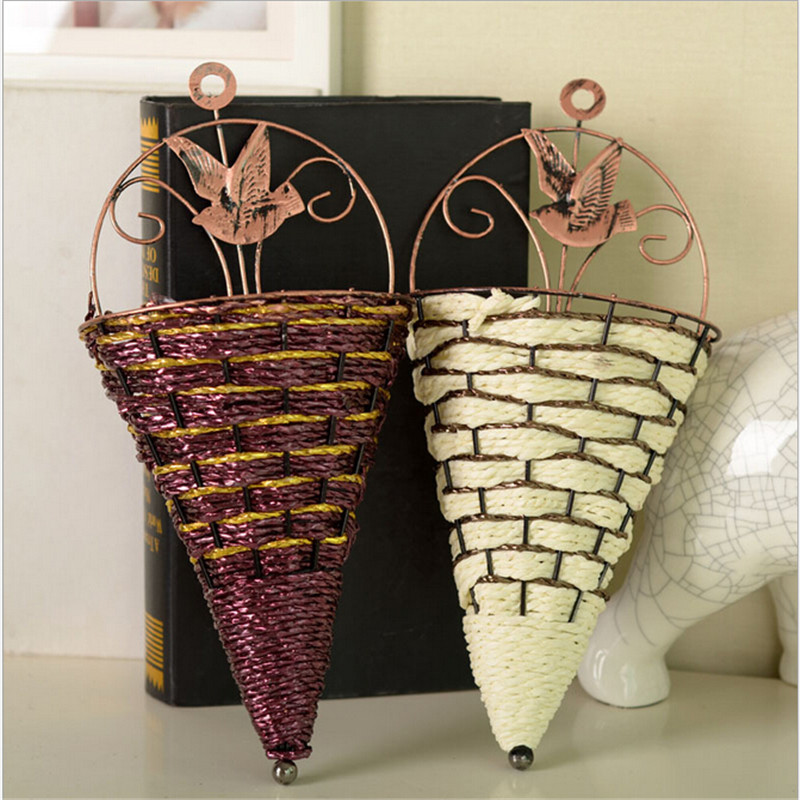 Vintage wall hanging rattan iron flower artificial flower ... on Iron Wall Vases id=94564