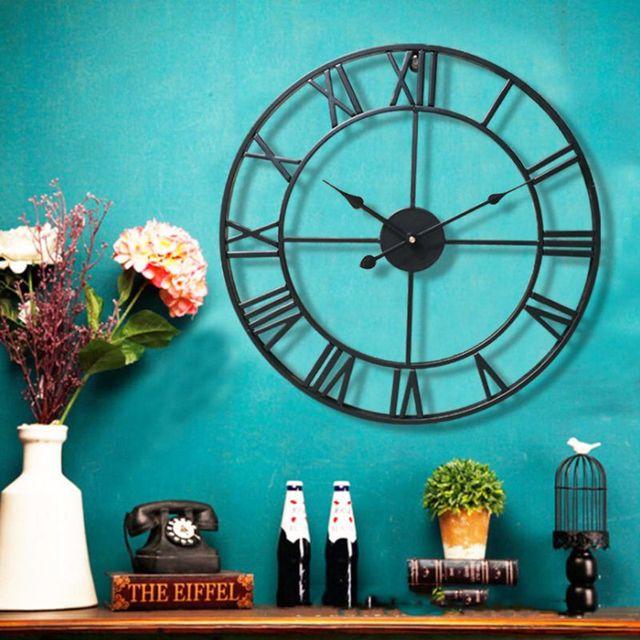 Grand autocollant mural 3D de montres   Autocollant numérique romain silencieux, décoration pour café Loft hôtel Bar bureau salon chambre à coucher