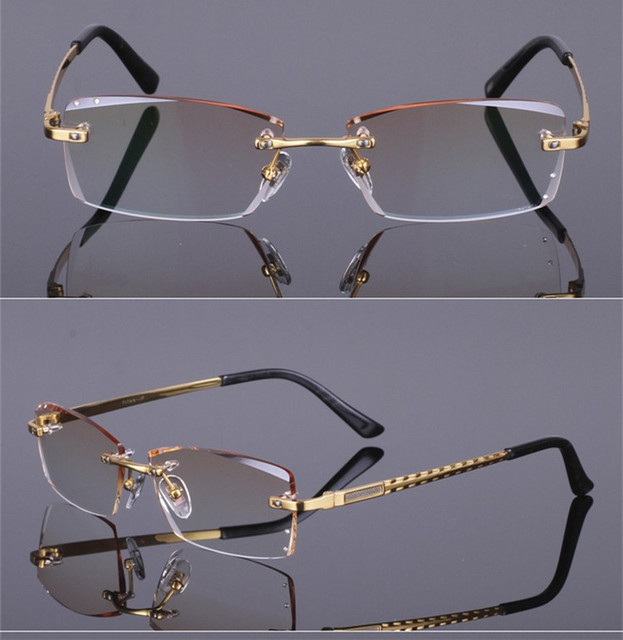 3de62719ceee eye glasses frame Diamond cutting edge Fashion and steady titanium  spectacle eyeglasses frame unisex decorations optical glasses