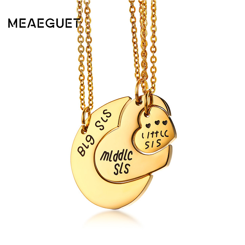 Meaeguet Women Heart Pendant Fashion Jewelry Big Sis Middle Sis Little Sis 3 Sister Necklace Birthday Day Gifts For Women ...