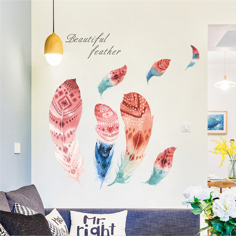 Vivid beautiful feather wall stickers home decor living - Beautiful wall stickers for living room ...