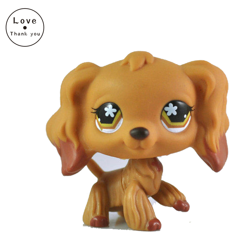 original pet shop toys #716 Brown Cocker Spaniel Flower Eyes Dog New Toys Xmas Gift Collection For Kids