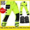 Mens workwear segurança Durável multi-bolso calças com joelheiras segurança do trabalho do trabalho reflexivo calça frete grátis