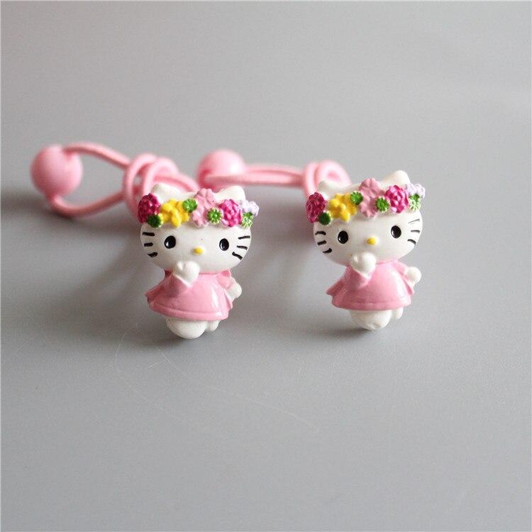 2 PCS New Resin KT Cat Elastic Hair Band Baby   Headwear   Girls Hair Accessories Tie Hair Ropes Children Headdress