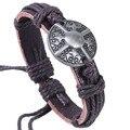 2016 Vintage Punk Style Brown Cowhide Bracelet For Men Chain Leather Bracelets for Women Charm Shield Bracelet Man Pulsera