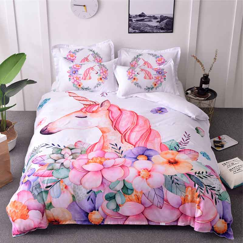 Unicorn Bedding Sets Queen Size Watercolor Printed Bed Set
