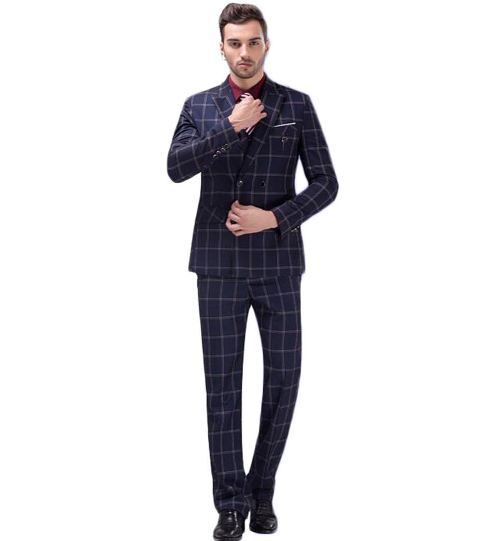 Verarbeitung In Neue 2 Stück Anzug 2018 Mode Herren Navy Anzüge Blazer Hosen Formale Kleid Anzug Männer Hochzeit Anzüge Bräutigam Smoking Exquisite jacke + Pants