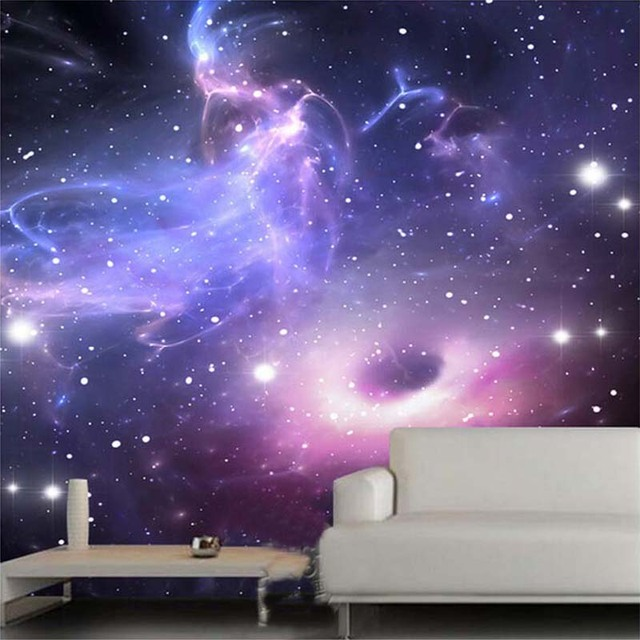 Custom 3D Stereoscopic Universe Stars Galaxy Ceiling Mural Wall Painting  KTV Living Room Bedroom Background Wallpaper