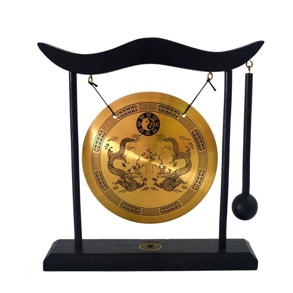 Zen Art Brass Feng Shui Desktop Gong Dragon Gong H1303