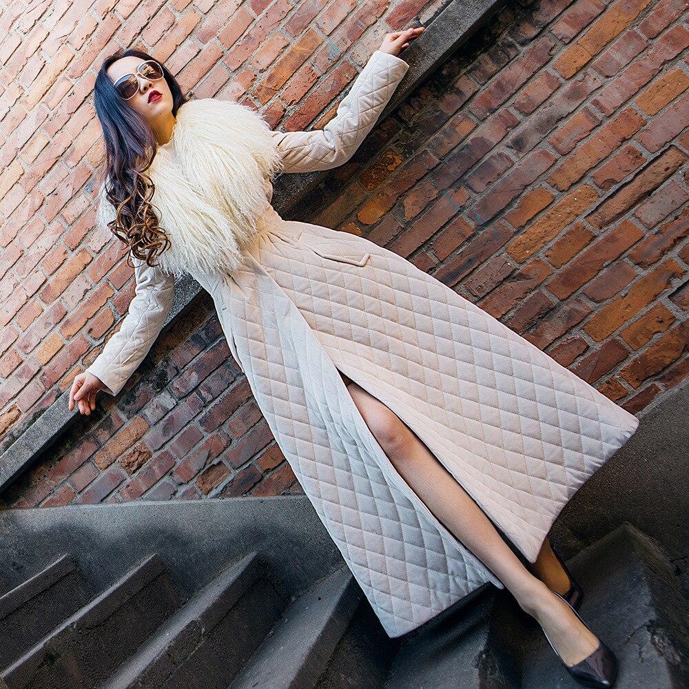 Damskie zimowe nowe X długi Parka moda duży kołnierz z prawdziwego futra panie spódnica kurtka na co dzień Slim Temperament watowe bawełny płaszcz Z577 w Parki od Odzież damska na  Grupa 1