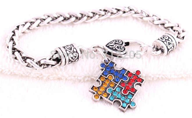 10 шт. пшеницы ссылка браслет-цепочка с аутизмом надеюсь Multi-Цветной Crystal Puzzle Кулон с Омар Коготь Браслет