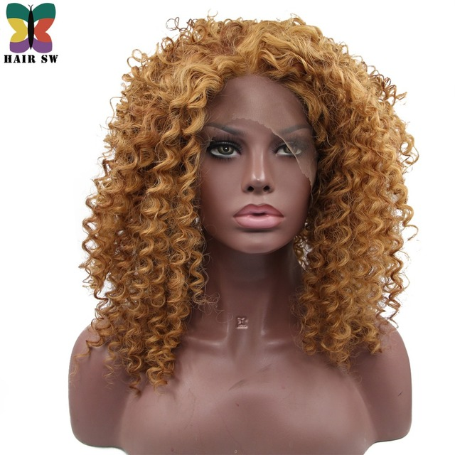 Hair Sw Short Bouncy Curly Synthetic Lace Front Wigs Brown Highlight