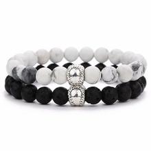 Louleur Vintage Distance Bracelet Classic Natural Stone White and Black Yin Yang Beaded Bracelets for Men Women Best Friend Hot