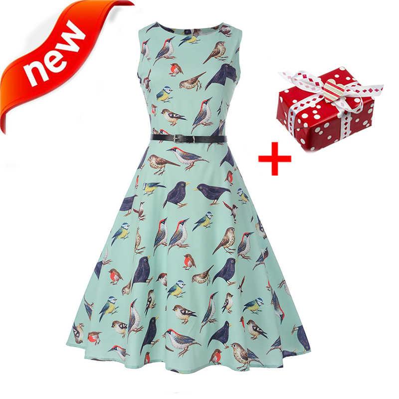 fca2cd6f6d2c0 Dresses Summer Dress Bird Print 2018 Women Plus Size XXL Tunic Belt Sundress  Vintage Retro Dot