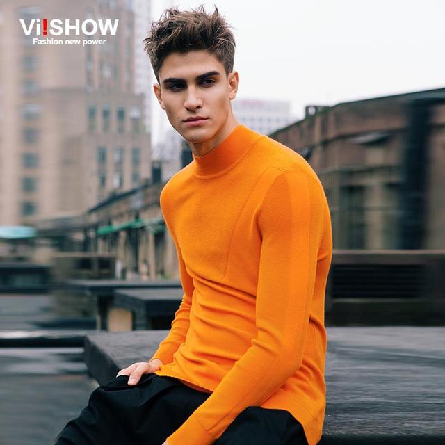 Viishow Brand Turtleneck Sweater Men Slim Sweater Fitness Knitted ...
