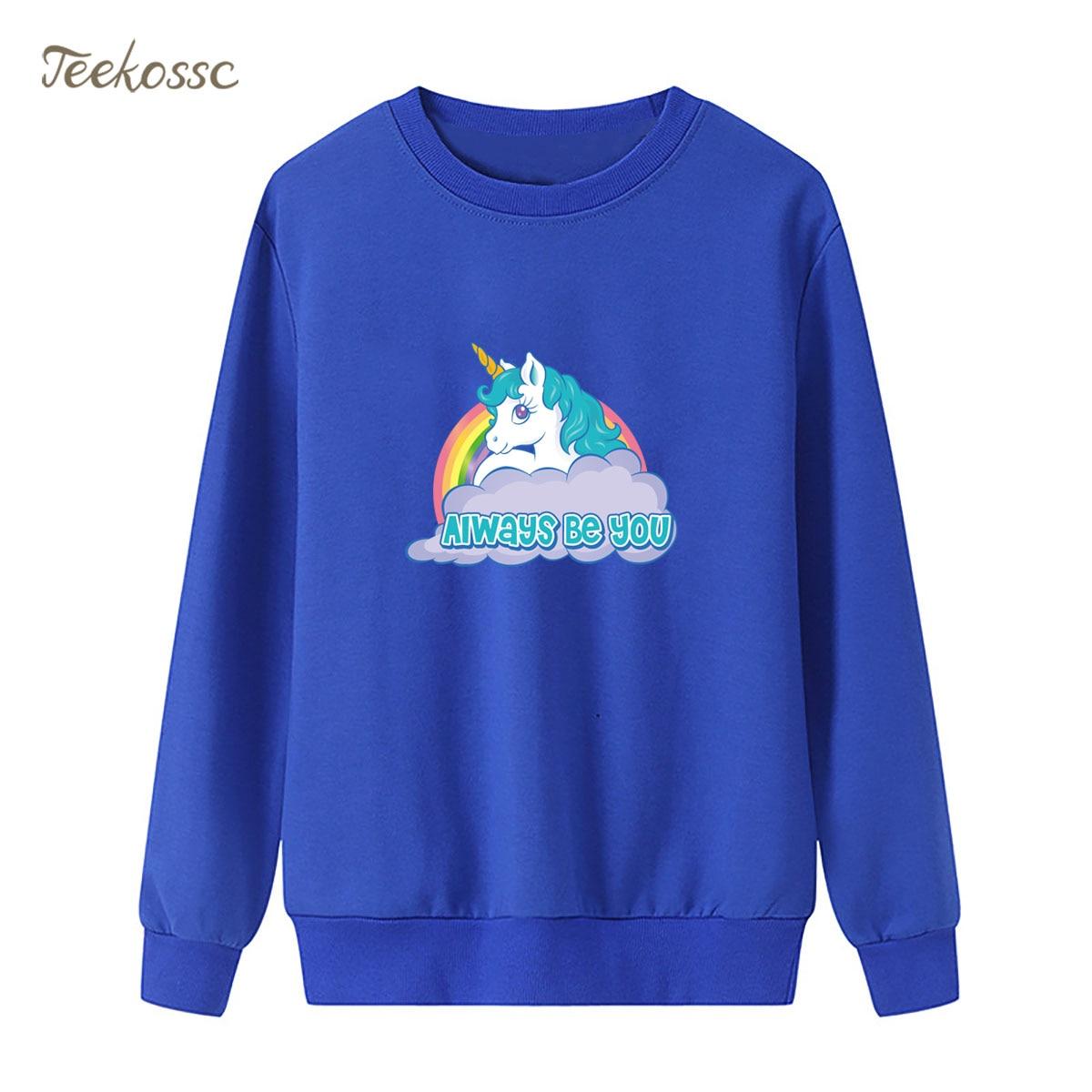 Rainbow White Horse Sweatshirt Alway Be You Hoodie 2019 Spring Autumn Women Ladies Pullover Fleece Warm Loose Cute Streetwear