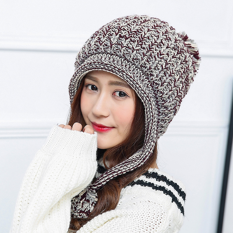 2018 New Fashion Woman's Warm Woolen Winter Hats Knitted Fur Cap For Woman Sooner State Letter   Skullies   &   Beanies   5 Color Gorros
