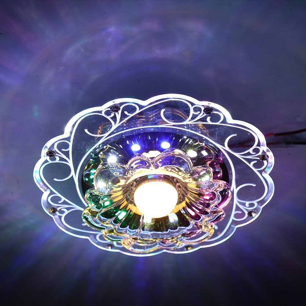 3W LED Crystal Lotus Ceiling Light Flush Lamp Main Warm Light Auxiliary Colorful Light Indoor Lighting