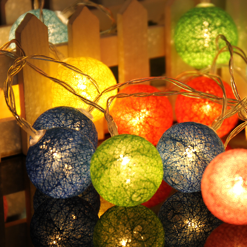 3M 20 LED Colorful Cotton Ball LED String Christmas Wedding Party Fairy Lights