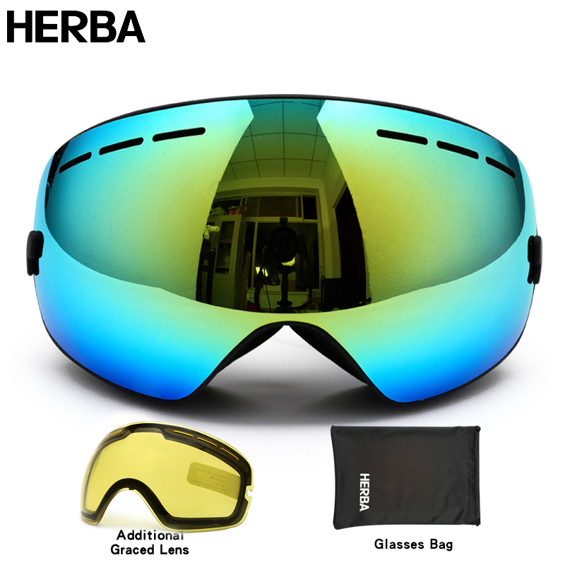 Nouveau HERBA marque ski lunettes double UV400 anti-brouillard grand masque  de ski lunettes de ski hommes femmes neige snowboard lunettes HB3-2 3cefb8f0db7b