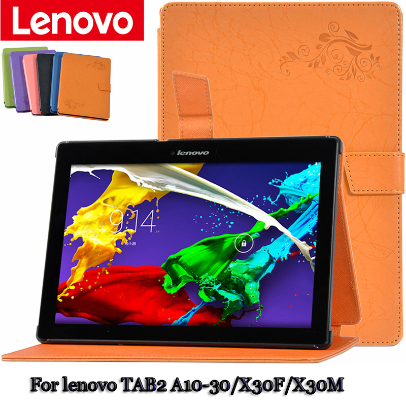 Magnet Leather Case Stand For lenovo TAB2 A10-30/X30F/X30M 10.1 inch clamshell Case for tablet PU Protective Shell +gift