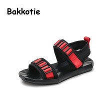 Bakkotie 2017 New Fashion Summer Baby Boy Breathable Casual Shoe Black Kid Brand Toddler Leisure Girl Beach Sandal Peep Toe Blue