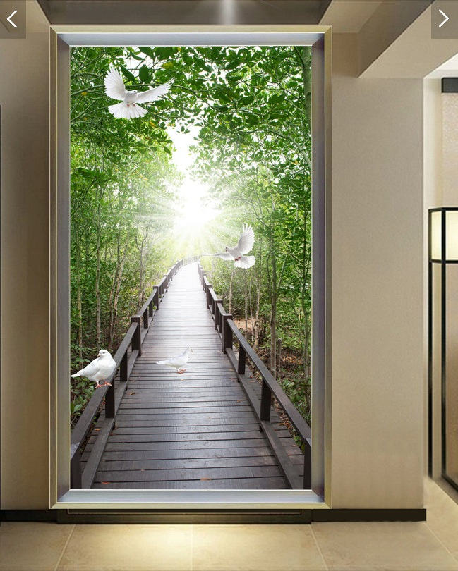 Custom photo 3d wallpaper Non-woven mural picture wall sticker 3 d Wooden bridge dove  painting Living room decoration 100pcs pack photo frame photo wall hangs a picture clasps solid wall nail contact non trace nail hooks