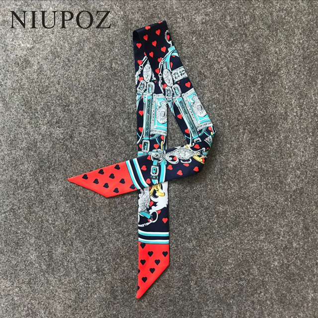 New Design Luxury Brand Twill Silk Small Women Ribbon Scarf Mermaid Print Hair Bags Handle Decoration Tie Hand Scarf M299