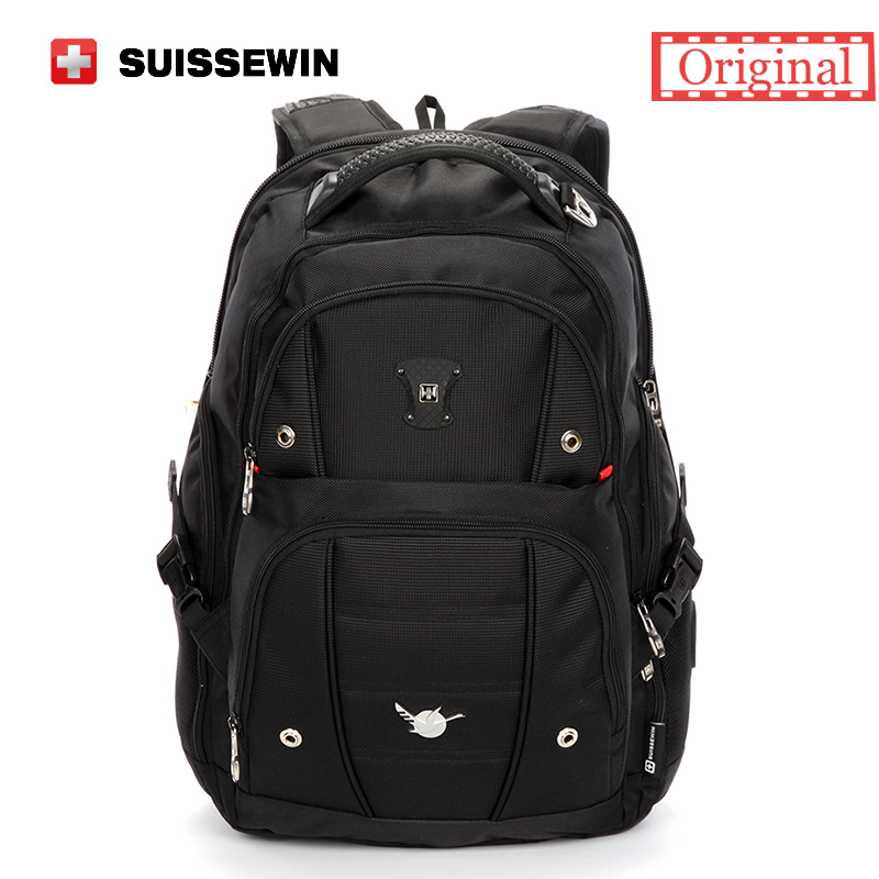 Swiss Men Backpack Gear Quality 15,6 Laptop Backpack sac a dos Large Capacity Waterproof Bagpack Black mochila masculina new 65l nylon large capacity multifunctional backpack high quality waterproof travel bags designer rucksack sac a dos mochila
