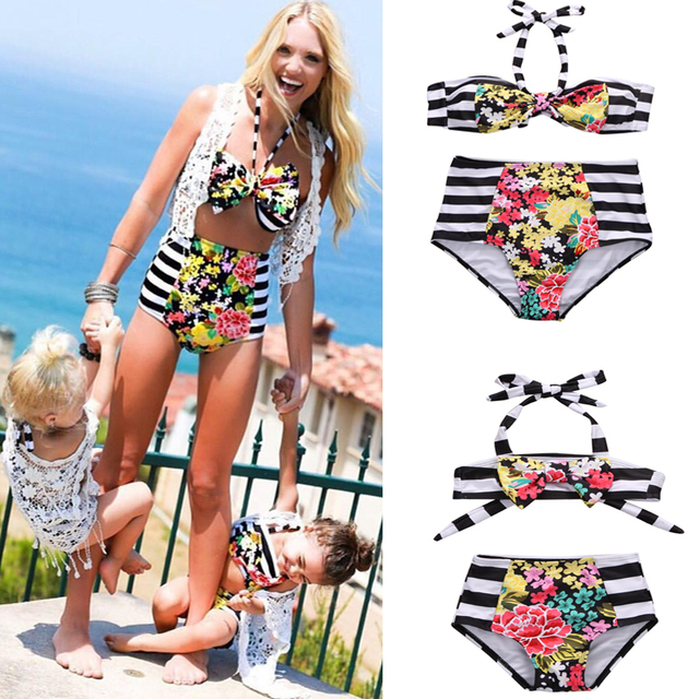 c3fe278fc73c2 Two-piece Baby/Mom Family Matching Bikini Sets Girl Women Floral Swimsuits  Bandage Swimwear Swimsuit Bathing Beachwear Suits