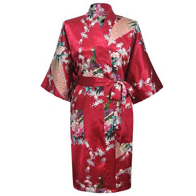 Borgonha Moda Pavão das Mulheres Kimono Robe Bath Vestido Camisola Yukata roupão de banho Pijamas Com Cinto S M L XL XXL XXXL KQ-13