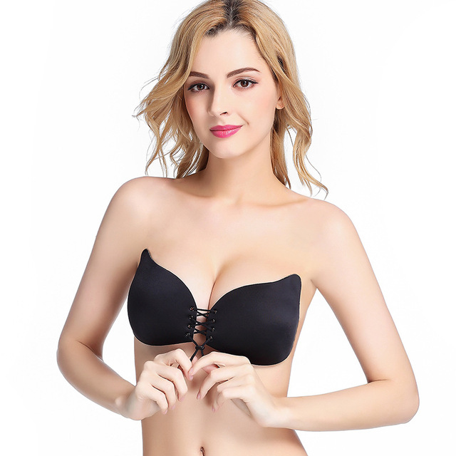 91d157b80e Lace Up Self Adhesive Invisible Strapless Push Up Bra Top Sticky Gel  Silicone Bralette Sexy Deep