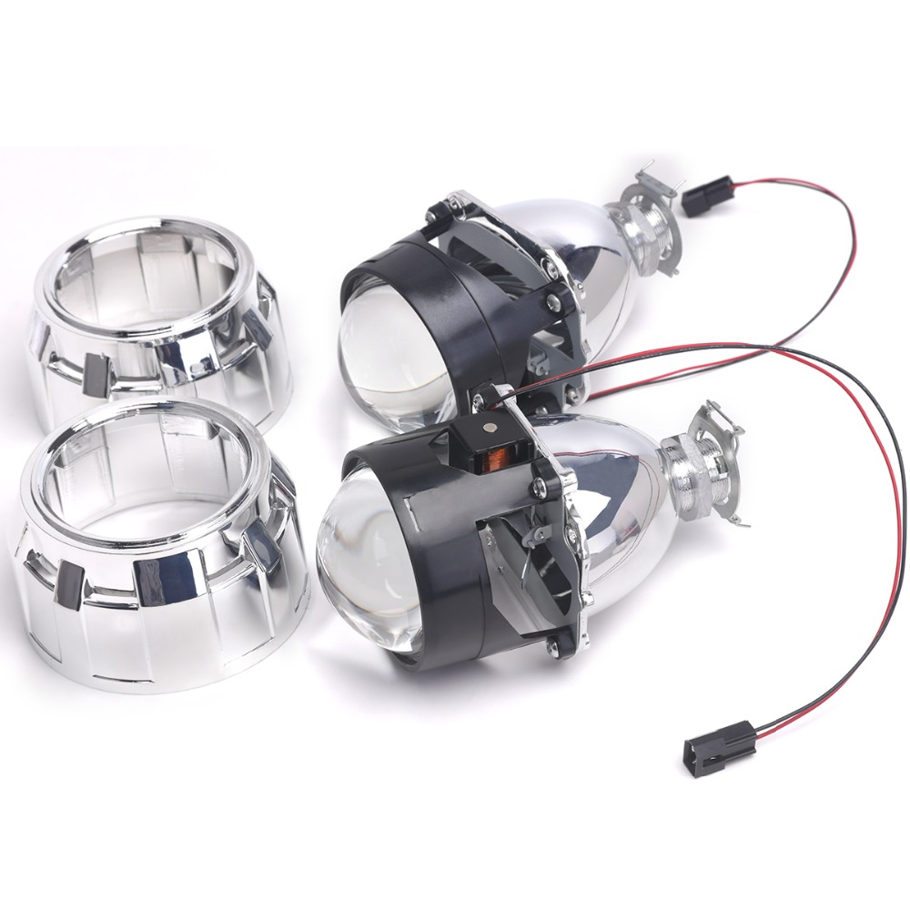ФОТО 2pc bi-xenon lens with Shroud 2.5inch  projector lens for H4 H7 Bixenon bi-xenon lens H1,H11,9005,9006 car hid headlight