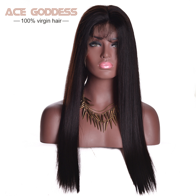 Full Lace Front  Human Hair Wigs Peruvian Virgin Hair Straight 8-30inch Unprocessed Cheap 8A Glueless Full Lace Wigs