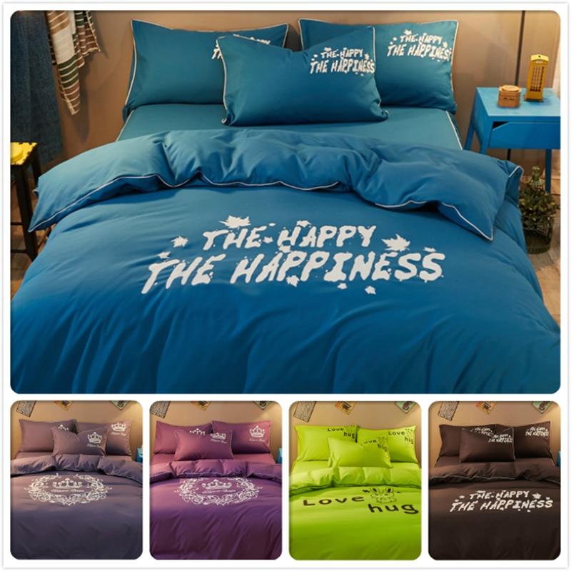 Solar Honest Pure Color Solid Bedding Set 3/4 Pcs Bedlinens Kids Single Double Queen King Size Duvet Cover 1.5m 1.8m 2.0m Bedsheet Bedclothes