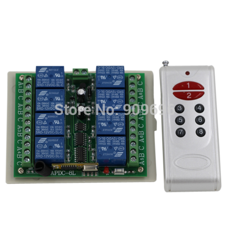 8 channel radio remote control/remote control DC12V 8ch 8 relays remote control transmitter with receiver control