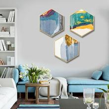 Nordic style Entrance decoration painting hexagonal living room sofa wall color life abstract primary mural