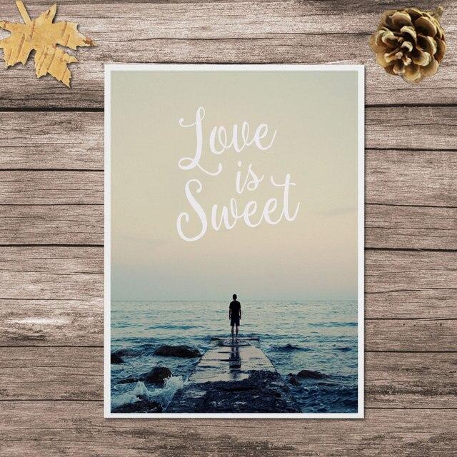 Citaten Voor Haar : Liefde is zoete quotes art print zee strand schilderij