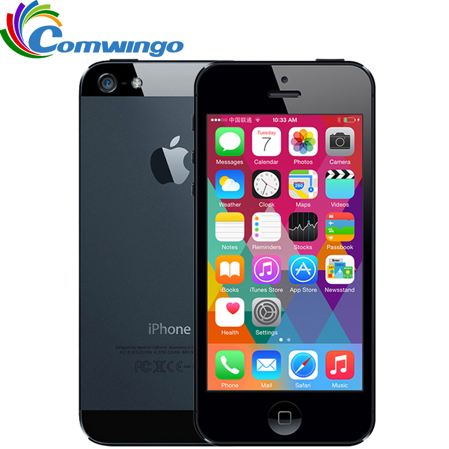 "Téléphone portable Original Apple iPhone 5 16G ROM WCDMA double-core 1G RAM 4.0 ""8MP caméra WIFI GPS IOS 7-IOS 9 téléphone intelligent en option"