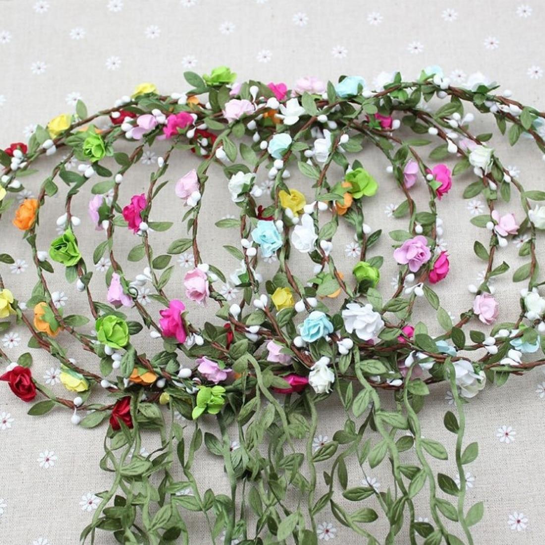 Girls Wedding Flower Crown Wreath Bohemian Vine Adjustable Yarn Garland Sweet Hair Bands Accessories For Bride Bridesmaid