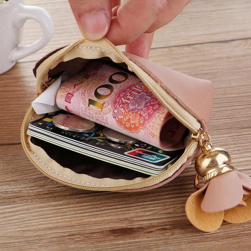 Floral Bolsa de moedas Bolsas Zipper Senhora Mulheres Cartões de Dinheiro Sacos PU Couro Mini Saco De Mulher Pingente Carteiras Bolsos Bolsa Notecase saco