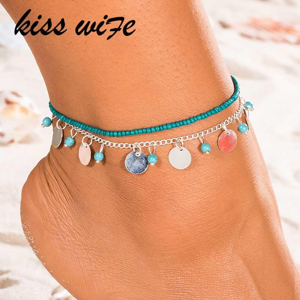 KISSWIFE 1 PC Anklet łańcuszek na kostkę kostki śniegu bransoletka urok liść łańcuszek na kostkę Tassel plaża Vintage Foot biżuteria