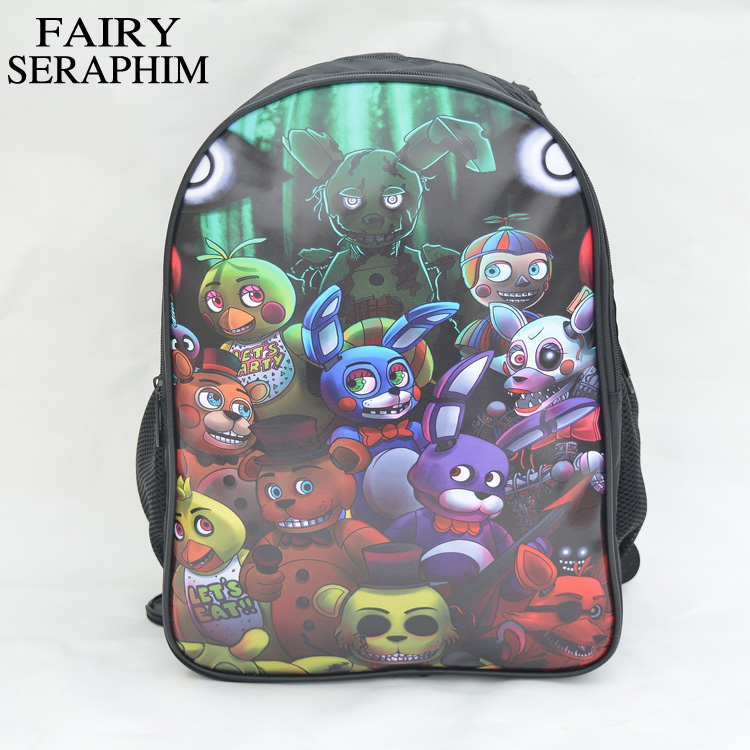 FAIRY SERAPHIM 16 Inch Five Nights at Freddy's Backpack children schoolbag teenager printing backpacks with front PU leather