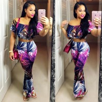 2016 Hot Sale Women Fashion Print Club Jumpsuits Ladies Sexy 2 Pieces Boot Cut Rompers Party
