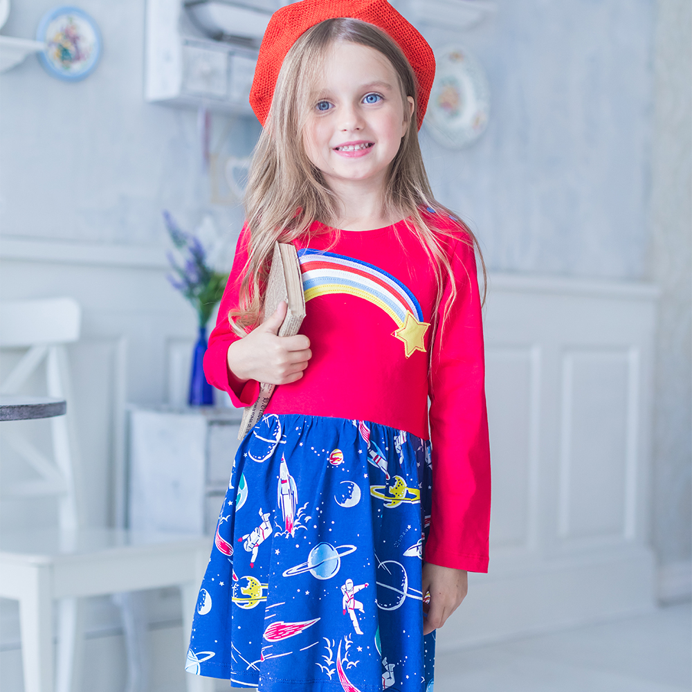 все цены на Baby Clothes Girls Dresses 2018 Autumn Winter Long Sleeve Girl Dress Children Clothing Kids Cotton Tunic Jersey Princess Dress