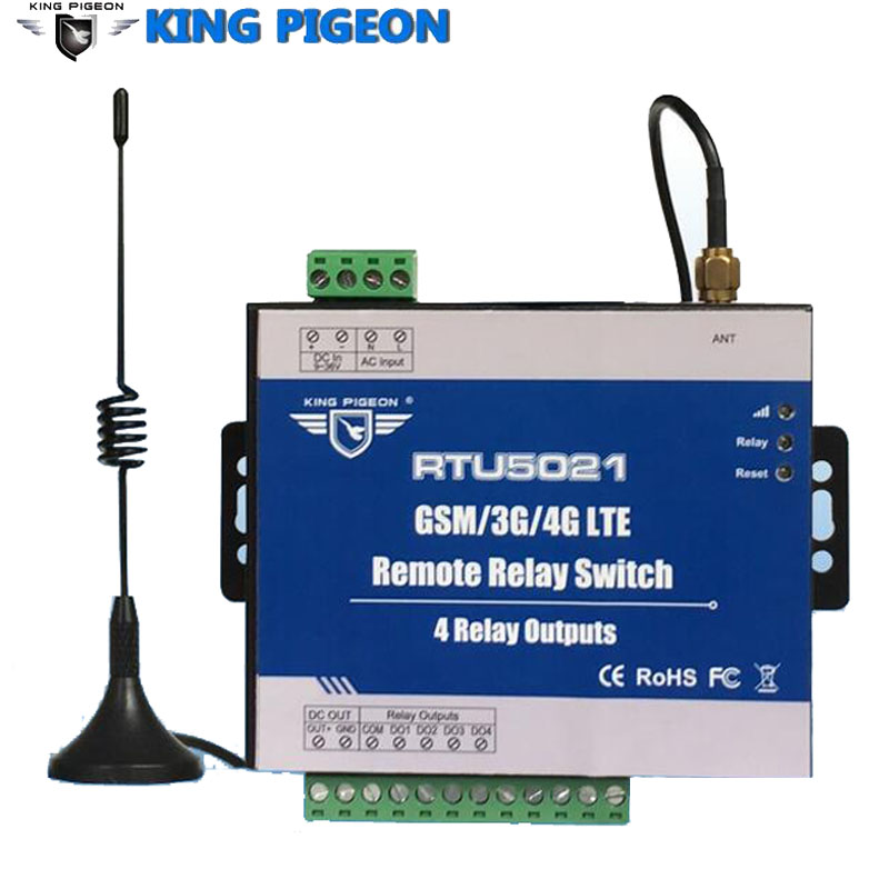RTU5021 GSM 3G 4G SMS Remote Controller 4 Relay Outputs Switch ON/OFF By SMS APP Timer Web IoT Gateway Alarm System недорого