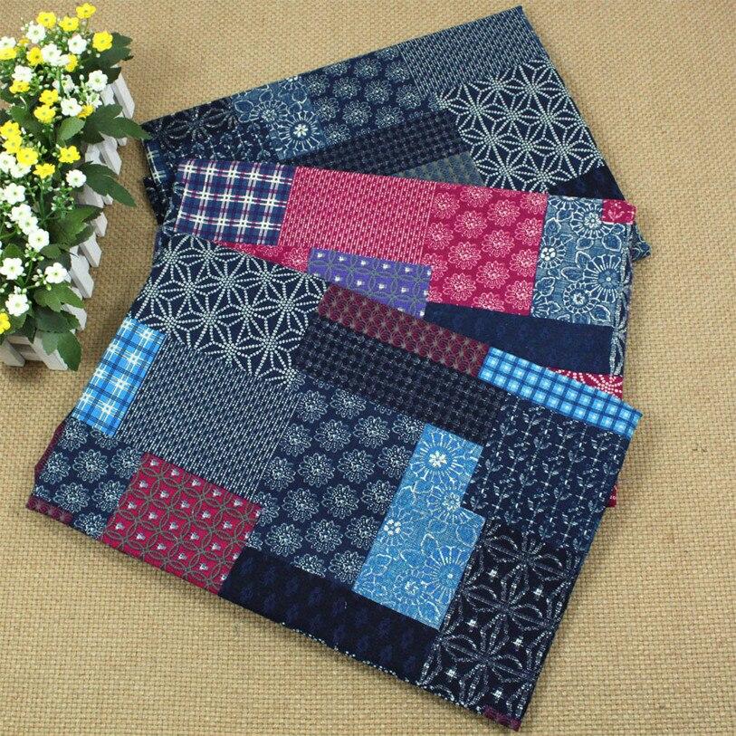 patchwork motif lin coton tissu imprimer tissus pour coudre couette rideau nappe oreiller. Black Bedroom Furniture Sets. Home Design Ideas