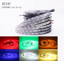 5m 60LEDs/m DC24V LED Strip 5050 IP30 Non Waterproof Flexible LED Light White/Warm White/Blue /Green/Red /Yellow/RGB LED Strip